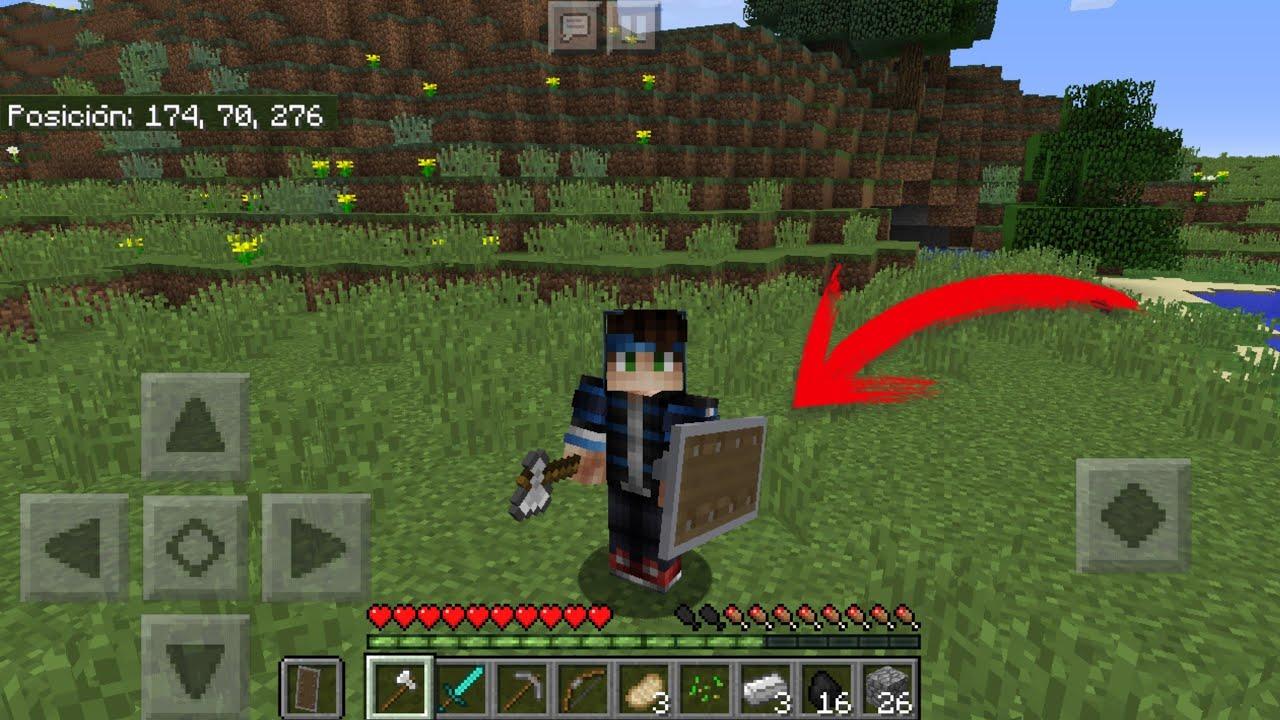 Ya Salió! Como Usar El Escudo Y Cualquier Item En La Mano Izquierda Sin  Mods En Minecraft PE 1.5 - YouTube