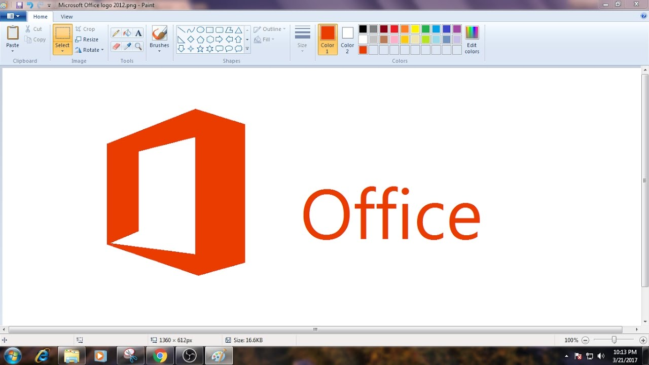 how to draw ms office logo in ms paint from scratch