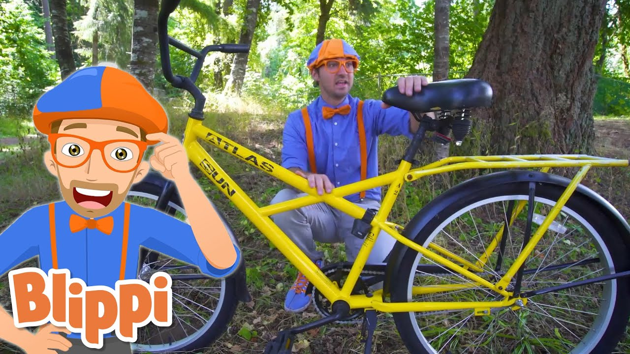Blippi Explores Tenino City on His Bicycle | Blippi | Cars, Trucks & Vehicles Cartoon | Moonbug Kids