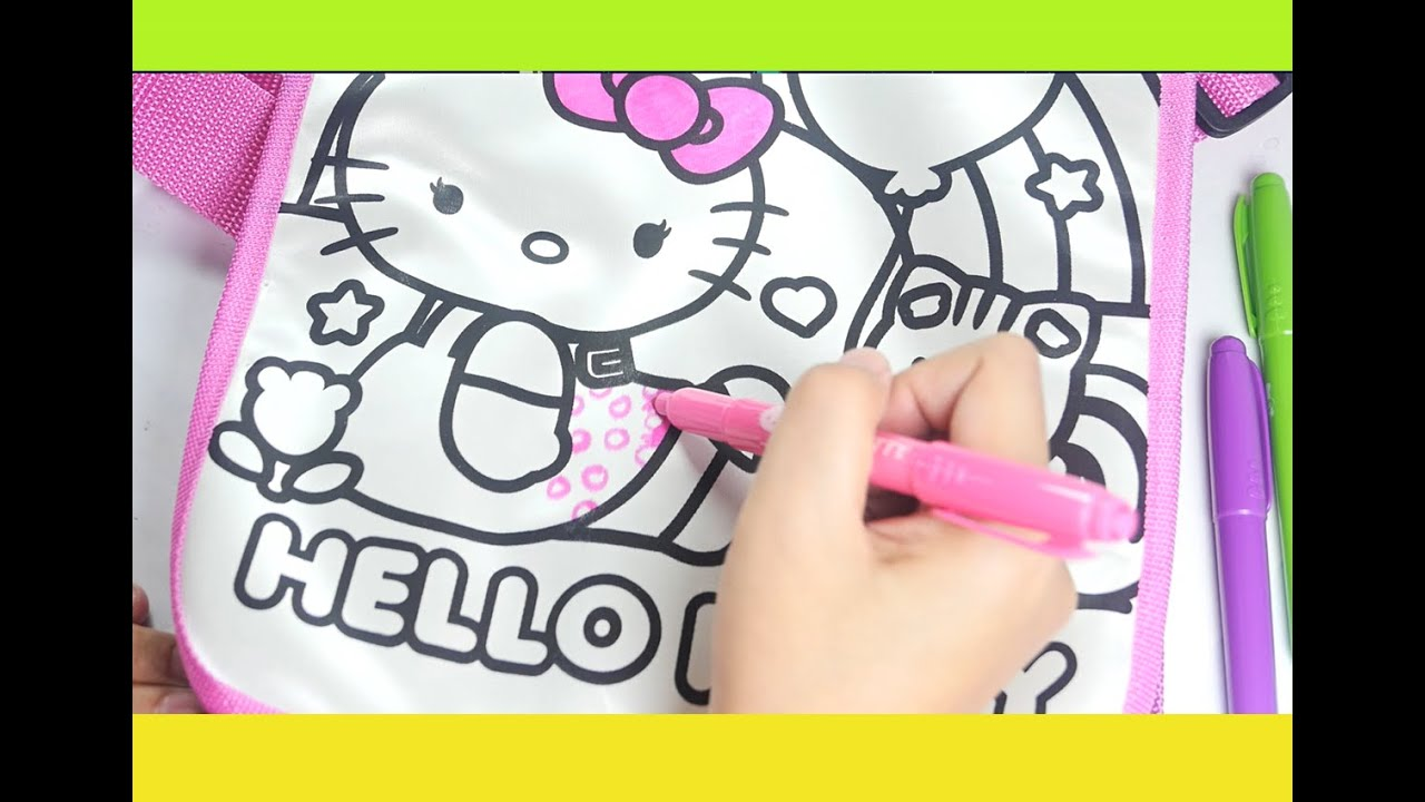 Hello Kitty design your own doodle messenger coloring bag - YouTube dc4ea82517888