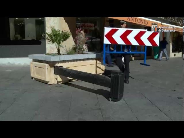 Maceteros con vallas de seguridad en Salamanca