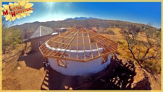 Reciprocal Roof Fascia | Framing Complete!  | Underground Earth Bag Building Ep 12 | Weekly Peek