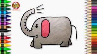Cara Menggambar Gajah Lucu Untuk Anak Tk Paud Dan Sd Youtube