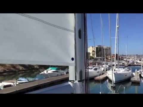 Instalation of a main sail on a furling Jeanneau 53 Yacht Mast By: Ian Van  Tuyl
