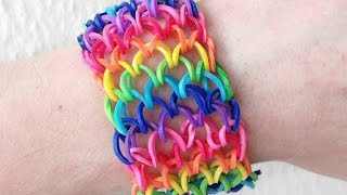 Repeat youtube video Como fazer pulseira de elástico: Escama de Dragão (Dragon Scale) #LoomBands (sem tear)