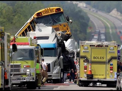 2 School Buses Crash Into Pickup and Semi Cab
