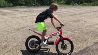 13 year old  on beta USA electric trials bike