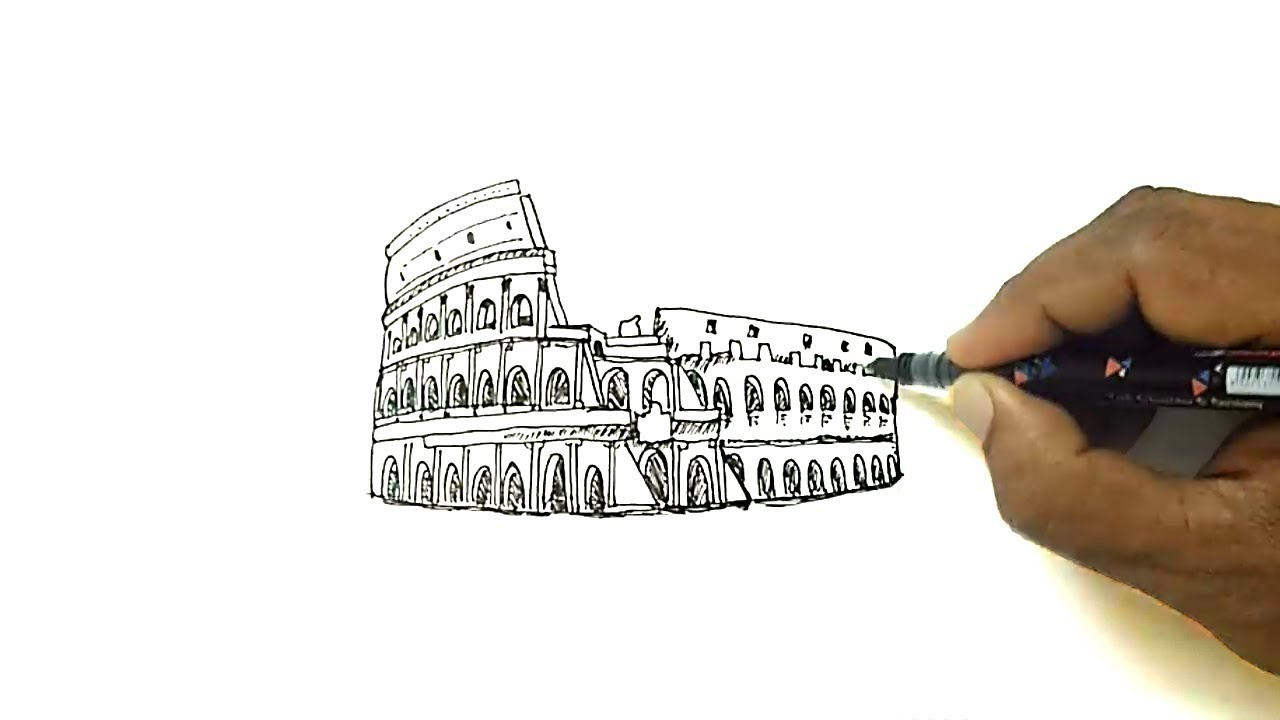How To Draw The Colosseum Youtube