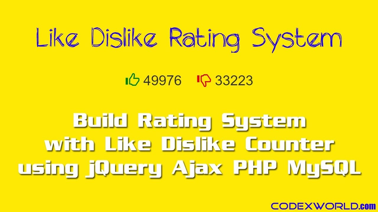 Like Dislike Rating System with jQuery, Ajax and PHP - CodexWorld