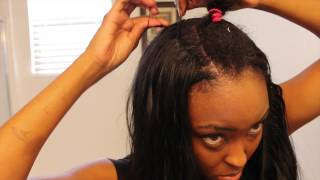 "Tutorial SEW-IN: Blending My Short Natural Hair with Jet Black 26"" Sleek Extentions