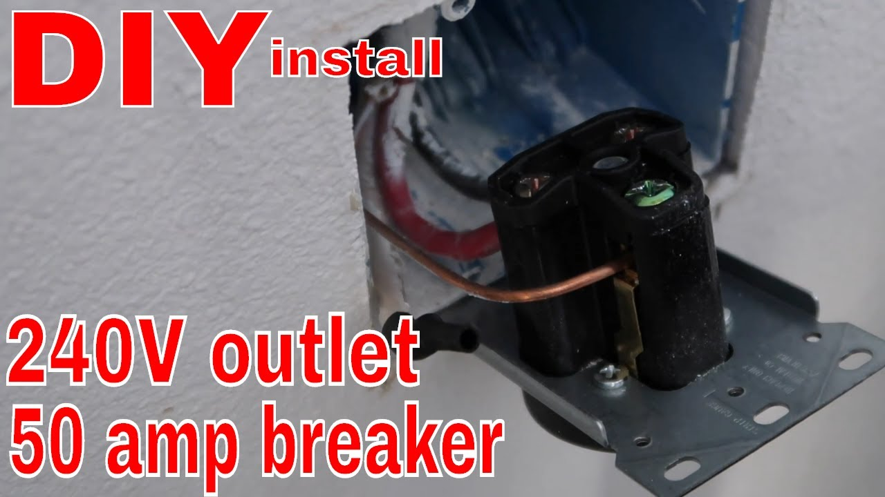 diy 240 volt outlet 50 amp breaker in my home workshop easiest install ever  [ 1280 x 720 Pixel ]