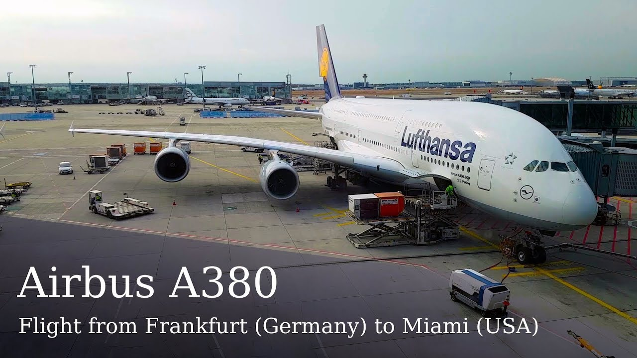 Airbus A380 (Lufthansa). Flight from Frankfurt (FRA, Germany) to Miami (MIA, USA) on lower deck