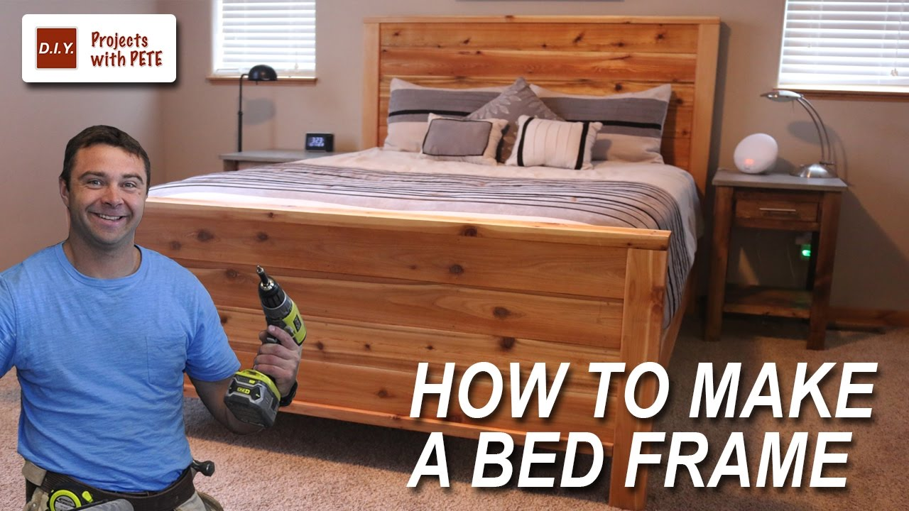 How to Make a Bed Frame with Free Queen Size Bed Frame Plans - YouTube