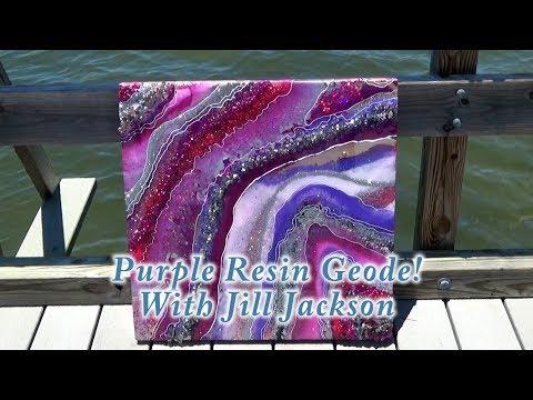 Explore Paint Pour!  Purple Resin Geode!  With Jill Jackson