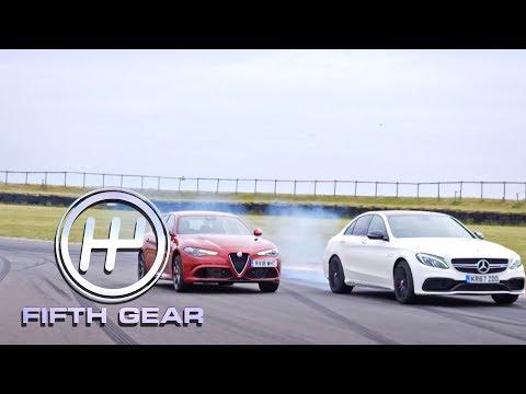 Mercedes AMG C63 vs. Alfa Romeo Giulia Quadrifoglio Speed Test | Fifth Gear