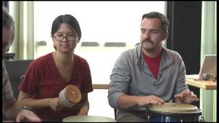 Drum circle with Charlyne Yi and Jake M. Johnson