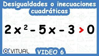 Desigualdades o inecuaciones cuadráticas ejemplo 6