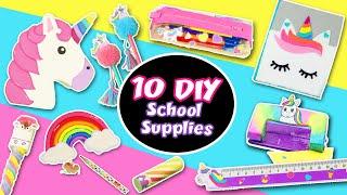 10 DIY UNICORN 🦄 School Supplies - Back to School ✏️  | aPasos Crafts DIY