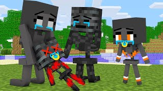 Monster School :  WITHER FAMILY SUPER SAD STORY CHALLENGE - Minecraft Animation