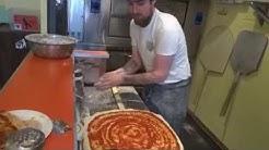 Massive 20 inch New York Style pizzas by Master Pizzaiolo Dan at Paradise Slice, Brick Lane, London.