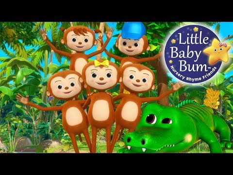 Five Little Monkeys Swinging In The Tree  Nursery Rhymes  Original Version  LittleBaBum