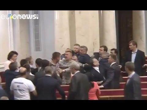 MPs brawl in Ukraine parliament