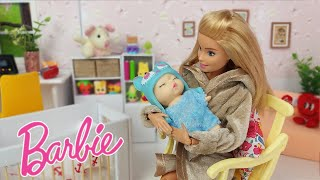 Barbie Baby Doll Morning Adventure with Bubble Bath DIY Blue Pajama for Doll
