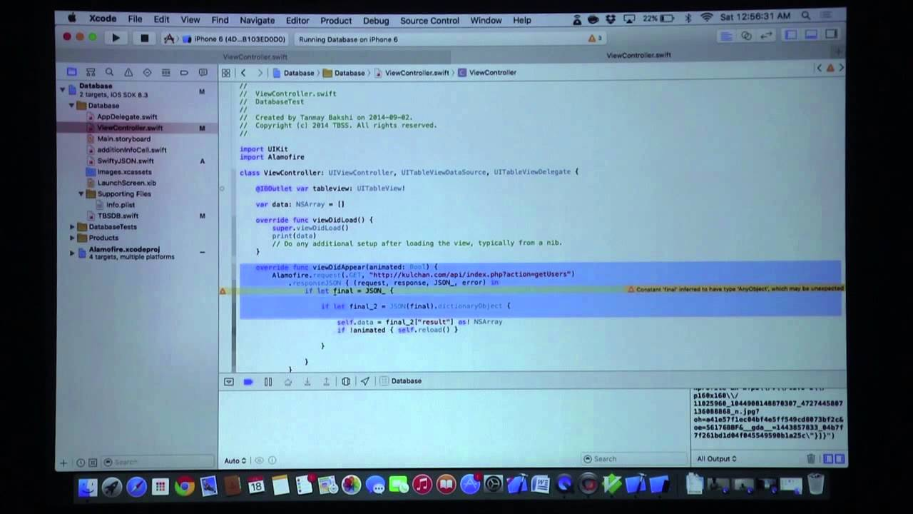 iOS Apps: Swift Databases Part 1 2! (Using Alamofire and SwiftyJSON!)
