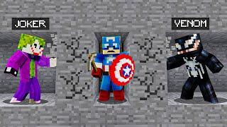 2 VILLAINS vs. SUPERHERO Speed Runner In Minecraft!