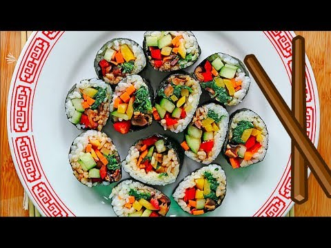 VEGAN KIMBAP!! (KOREAN SUSHI!!) 🍣🍣