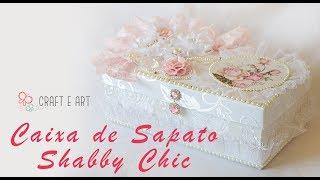 CAIXA DE SAPATO FORRADA TECIDO ESTILO SHABBY CHIC