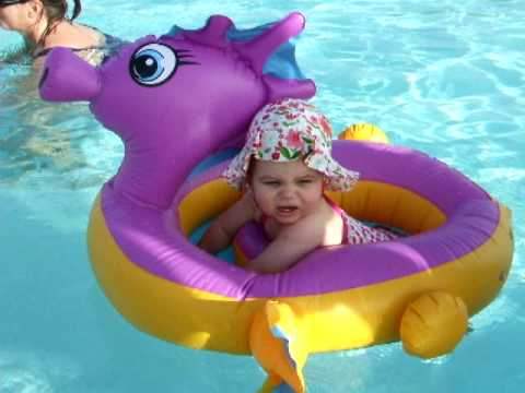 Baby swimming in pool - YouTube
