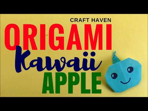 How to Make Kawaii Origami Apple - Cutest Paper Apple - Easy and Fun DIY Kawaii Origami Instructions