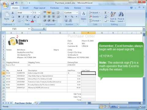 purchase order excel