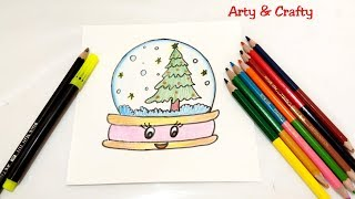 How to Draw Christmas Snow Globe Easy & Cute -Christmas Drawing by Arty & Crafty