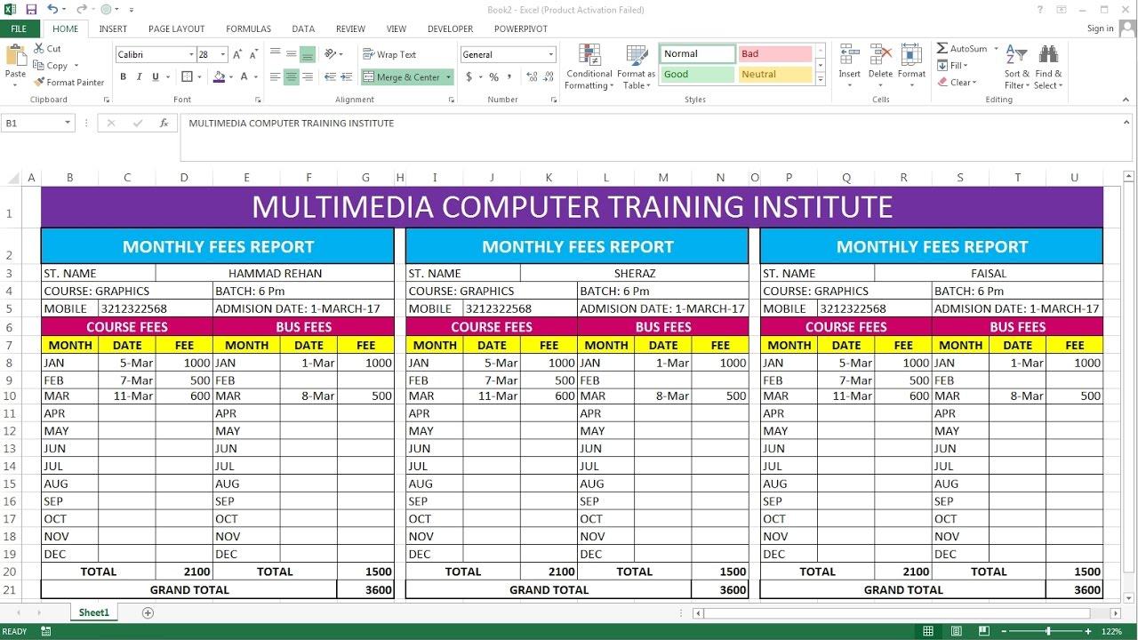 fee schedule template microsoft office
