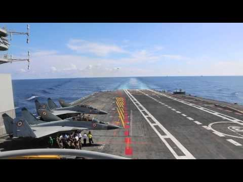 Mig-29K successfully trapped on Indian Navy's aircraft carrier INS Vikramaditya in the Arabian Sea