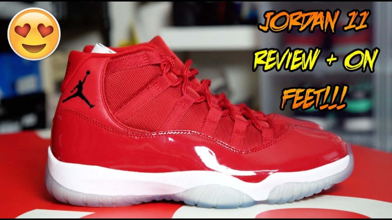0db9d04ef82a54 AIR JORDAN  WIN LIKE 96 GYM RED  11 REVIEW + ON FEET!!! - YouTube