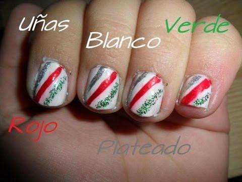 Uñas Para Navidad En Blanco, Verde, Rojo Y Plateado ★★ yBeautyMakeUp ★★