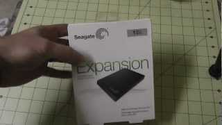 Seagate Expansion 1TB USB 3.0 Black Portable Hard Drive Unboxing