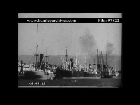 Santos Port in Brazil, 1940's.  Archive film 97822