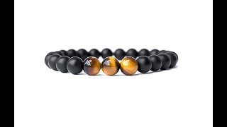 Real Natural Onyx Stone Bead Celet Unique Tiger Eyes Men And Women