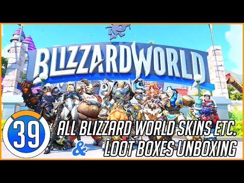 ALL BLIZZARD WORLD SKINS, INTROS etc. & Unboxing Loot Boxes in Overwatch! #39