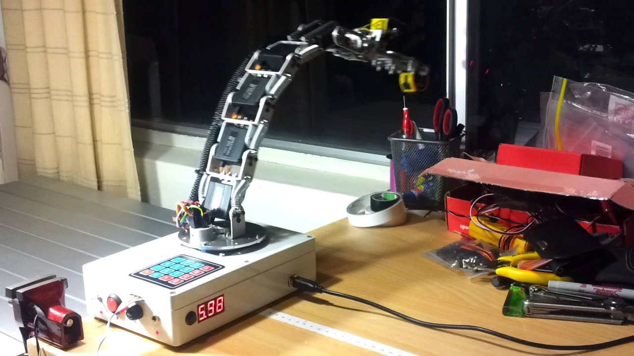 Arduino robot arm test simultaneous servo moves youtube