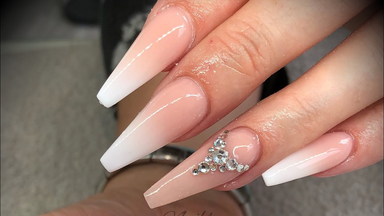 ebb2a0b8048 Acrylic nails - white fade/ombré/baby boomer with swarovski crystals ...