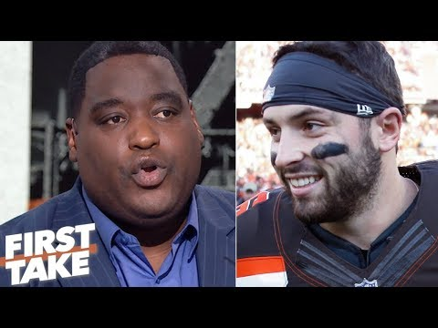 Damien Woody not backing down from Baker Mayfield after Hue Jackson comments | First Take