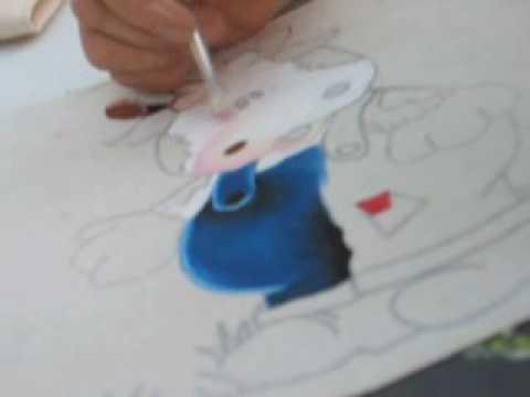 Delantal de vaquita pintura en tela youtube - Pintura en tela dibujos ...
