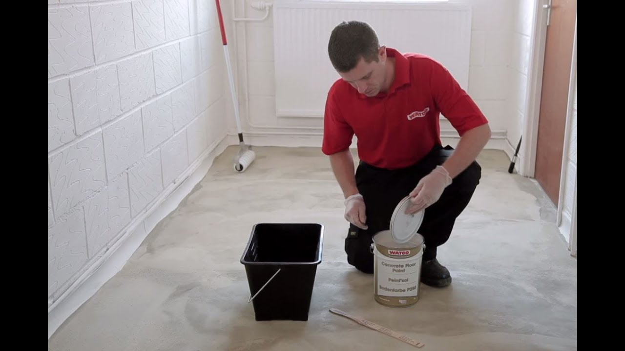 how to paint a concrete floor watco youtube. Black Bedroom Furniture Sets. Home Design Ideas