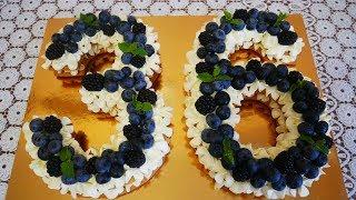 Торт цифра Медовый торт с ягодами Торт для мужчины на день рождения Украшение тортов