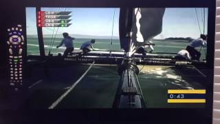 Michael Johnson falls off Oracle USA boat